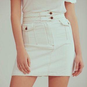 Free People Baby Braided Mini Denim Skirt